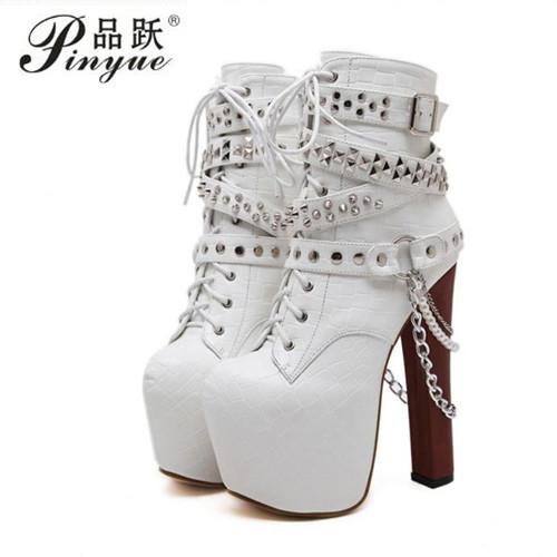 Zip Metal Chains Rivet Motorcycle Boots Women Shoes Super High Heels Platform Ankle Boots Punk Rock Gothic Biker BootsZip Metal Chains Rivet Motorcycle Boots Women Shoes Super High Heels Platform Ankle Boots Punk Rock Gothic Biker Boots