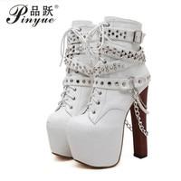 Zip Metal Chains Rivet Motorcycle Boots Women Shoes Super High Heels Platform Ankle Boots Punk Rock Gothic Biker Boots