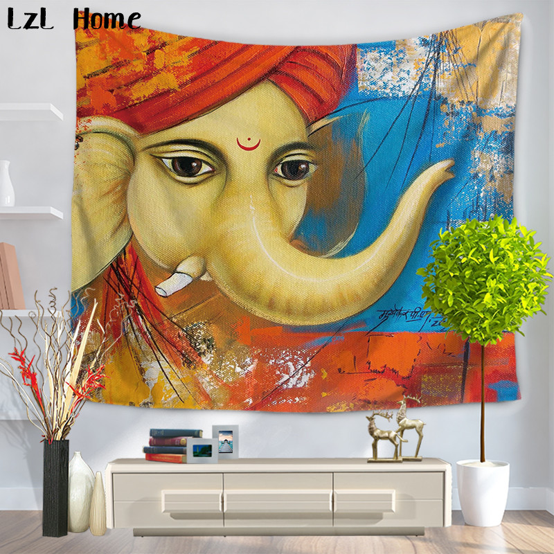LzL Home Indian Mandala Elephant Printed Tapestry Hippie Home Deor Wall Hanging Tapestries Arazzo Indian <font><b>Tenture</b></font> Mural Wall Rug image