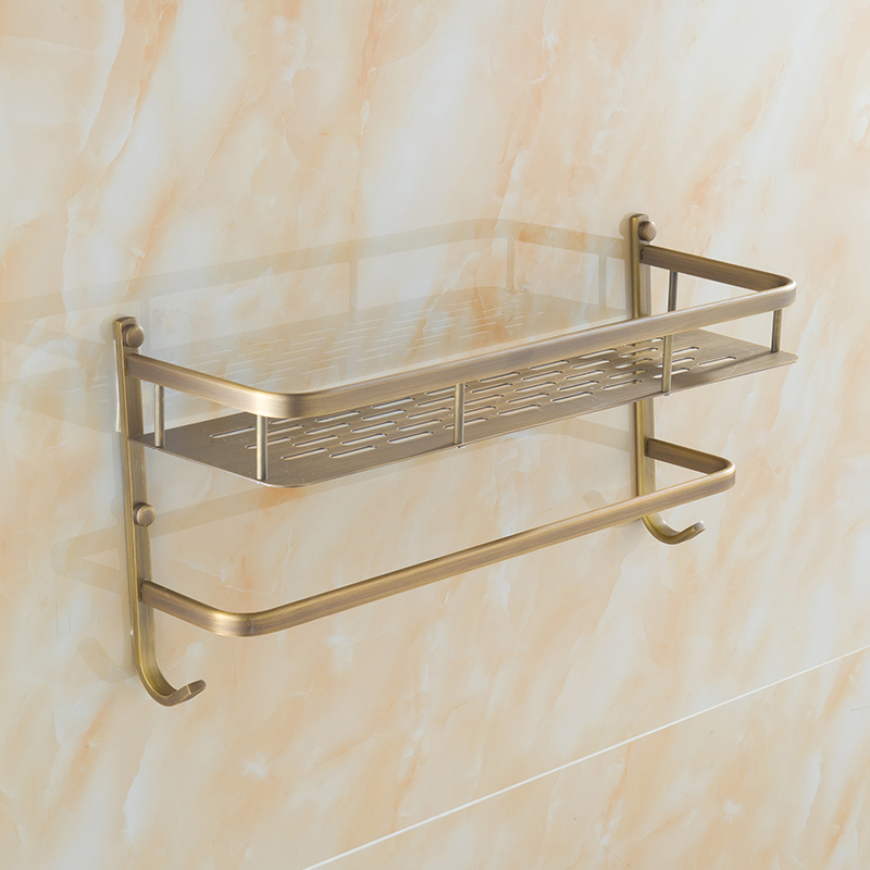 40cm Antique brass square wall mounted bathroom shelves single tier, Retro cosmetic storage rack with towel bar and hooks