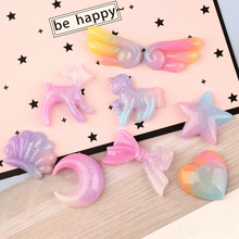 10pcs/lot Resin Gradient Decoration Crafts Kawaii Flatback Cabochon Embellishments For Scrapbooking DIY AccessoriesButto