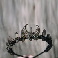 Crystal Crown with Moon Festival Crown Tiara Witch Boho Moonchild Fairytale Quartz Halloween Headband Gatsby Accessories