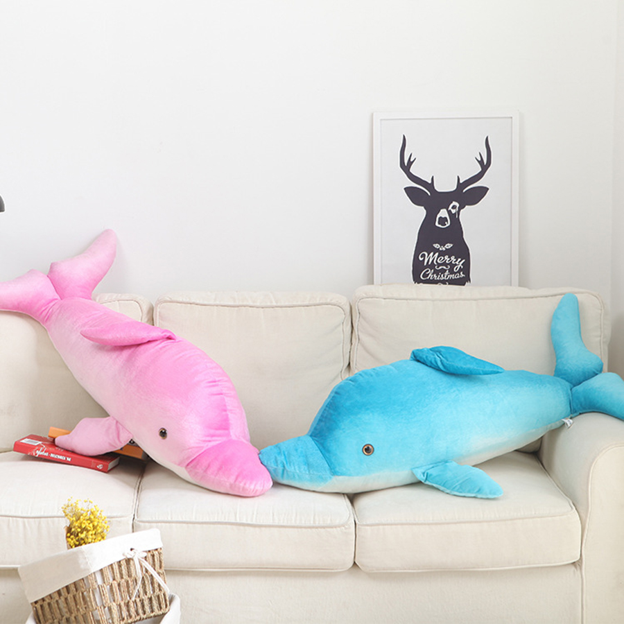 120cm Dolphin Pillow Doll Plush Toy Stuffed Animal Simulation Toys Peluche Gigante Peluches De Animales Gigantes 50T0528