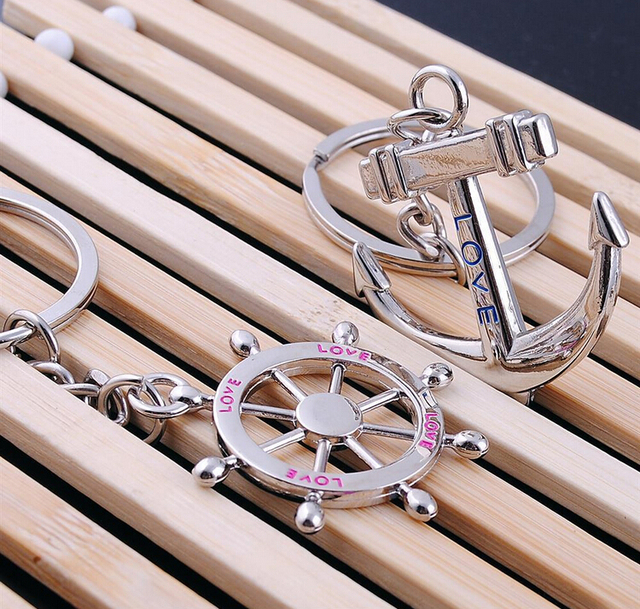 10PCS/LOT Beach wedding souvenirs Anchor keychain for lovers ...