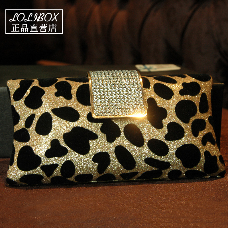 ФОТО Crossbody bags for women handbag flash sequins diamond leopard chain Clutch Bags Ladies Evening Bag for Party Day Clutches