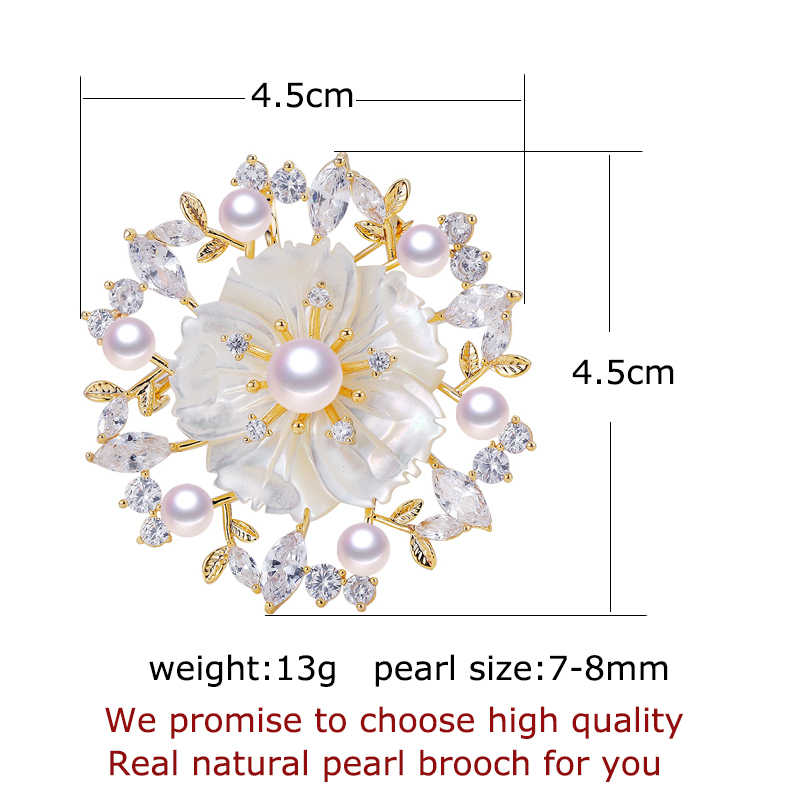 Shdiyayun 2019 Pearl Bros untuk Wanita Zirkon Shell Bunga Bros Mutiara Air Tawar Alami Fine Perhiasan Alami Kerang