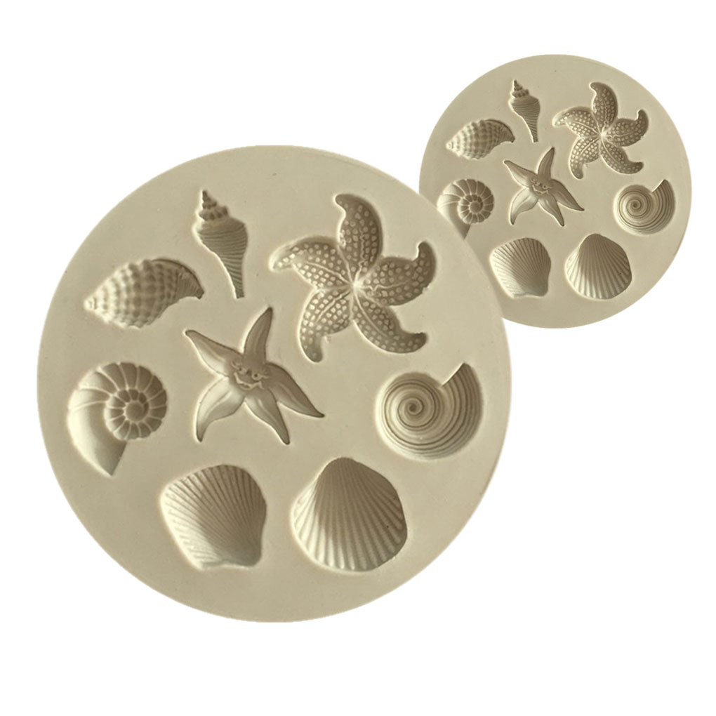 3D Seashell Starfish Conch Shaped Fondant Silicone Mold For Kitchen Baking Chocolate Pastry Candy Clay Making Decoration Tool