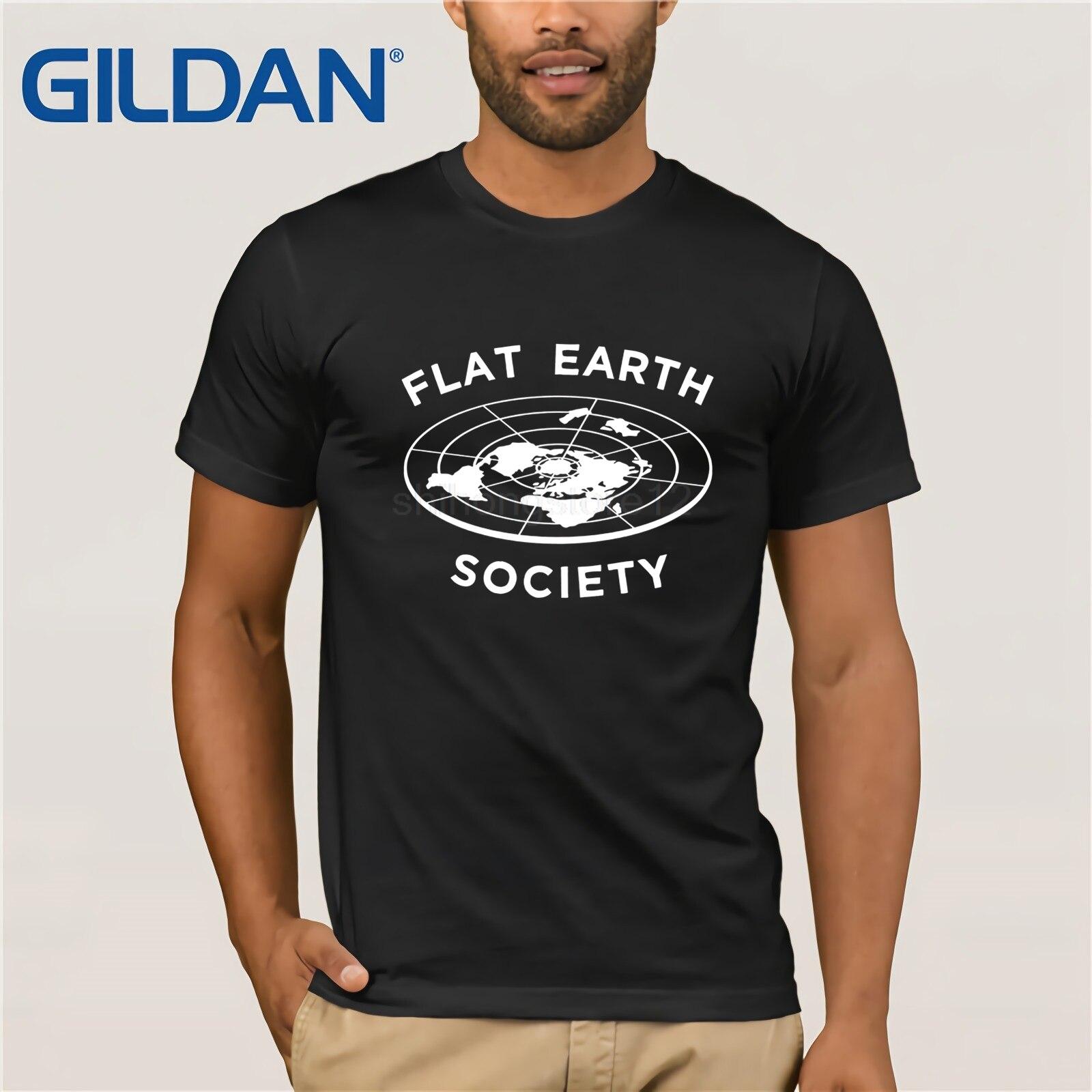 Gildan   t     shirt   2019 Fashion men   t  -  shirt   gildan Flat Earth Society   T  -  Shirt   Fun Conspiracy Graphic Tee