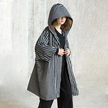 LANMREM New Fashion Hooded Patchwork Striped Loose Large Size Winter Jacket Female's Oversize Cotton Coat Jaqueta Feminina YE799