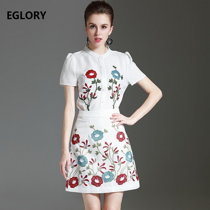 2017 Summer Fashion Set Women Floral Embroidery White Shirt+Exquisite Embroidery Mini Skirt Suits High Quality Designer Sets 2pc