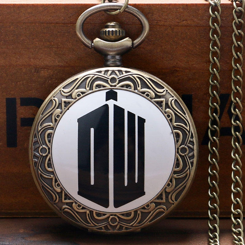 Hot Selling Doctor Who Retro Bronze Quartz Pocket Watch With Chain Necklace Free Shippng Men Women Best Gift uk movie doctor who pocket watch men quartz fashion necklace dr who luxury gift box set best gift free shipping