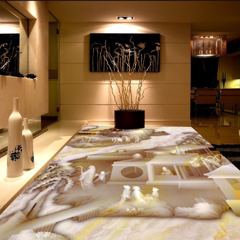 Free Shipping 3D Chinese landscape self-adhesive studio anti-skidding floor self-adhesive bedroom wallpaper mural