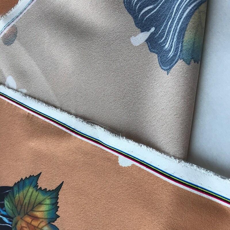 2019 Primavera y novedad de verano alta calidad diseño de vid marrón impresión ropa camisa hecha a mano DIY tela para vestido 145cm de ancho - 4