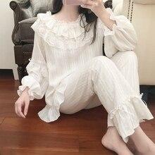 Kadın Lolita pamuklu pijama setleri. Fırfır dantel üstler + uzun pantolon. Vintage bayanlar kız pijama seti. Victoria pijama Loungewear