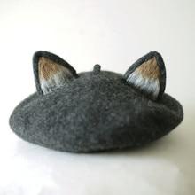 Women Beret Meow Star People Wool Felt Cap You Original Manual Cat Ears Painter Hat Mushroom Gift