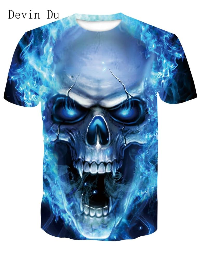 Devin Du New design skull poker print Men short sleeve   T     shirt   3d   t  -  shirt   casual breathable   t  -  shirt   plus-size tshirt homme
