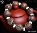 Fashion Natural Bodhi 20mmX9 Lotus Carved Buddha Beaded Bracelet Hot Sale