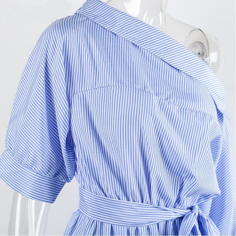 Elegant Party Dress Women Spring Summer Off Shoulder Stripe Short Dress Beach Sexy Loose Bohemian Dresses Blue Brand in Dresses from Women 39 s Clothing