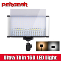 Ultra Thin On Camera 160 Led Video Light Panel High CRI 95+ w/ Brightness Control + Color Temperature Adjustable (3200K 5600K)