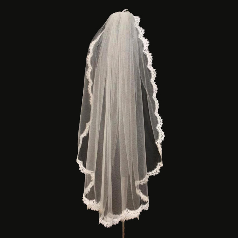 Short Tulle Bridal Veils With Lace Edge One Layer Elbow Length Womens Wedding Veils Voile Mariage Bridal Accessories 2019 VE010