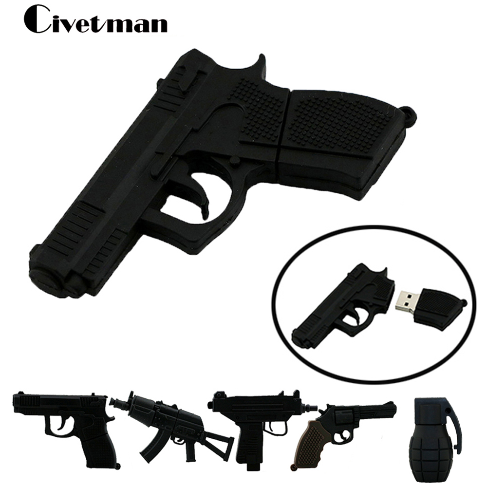 Pen Drive Gun USB Flash Drive 4GB 8GB 16GB 32GB 64GB USB Drive Handgrenade Thumbdrive USB2.0 Cartoon AK47 Pistol Pendrives