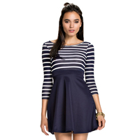 RE80123 Best Autumn Style 2016 Women Striped Dress High Quality Long Sleeve Skater Dress Black And