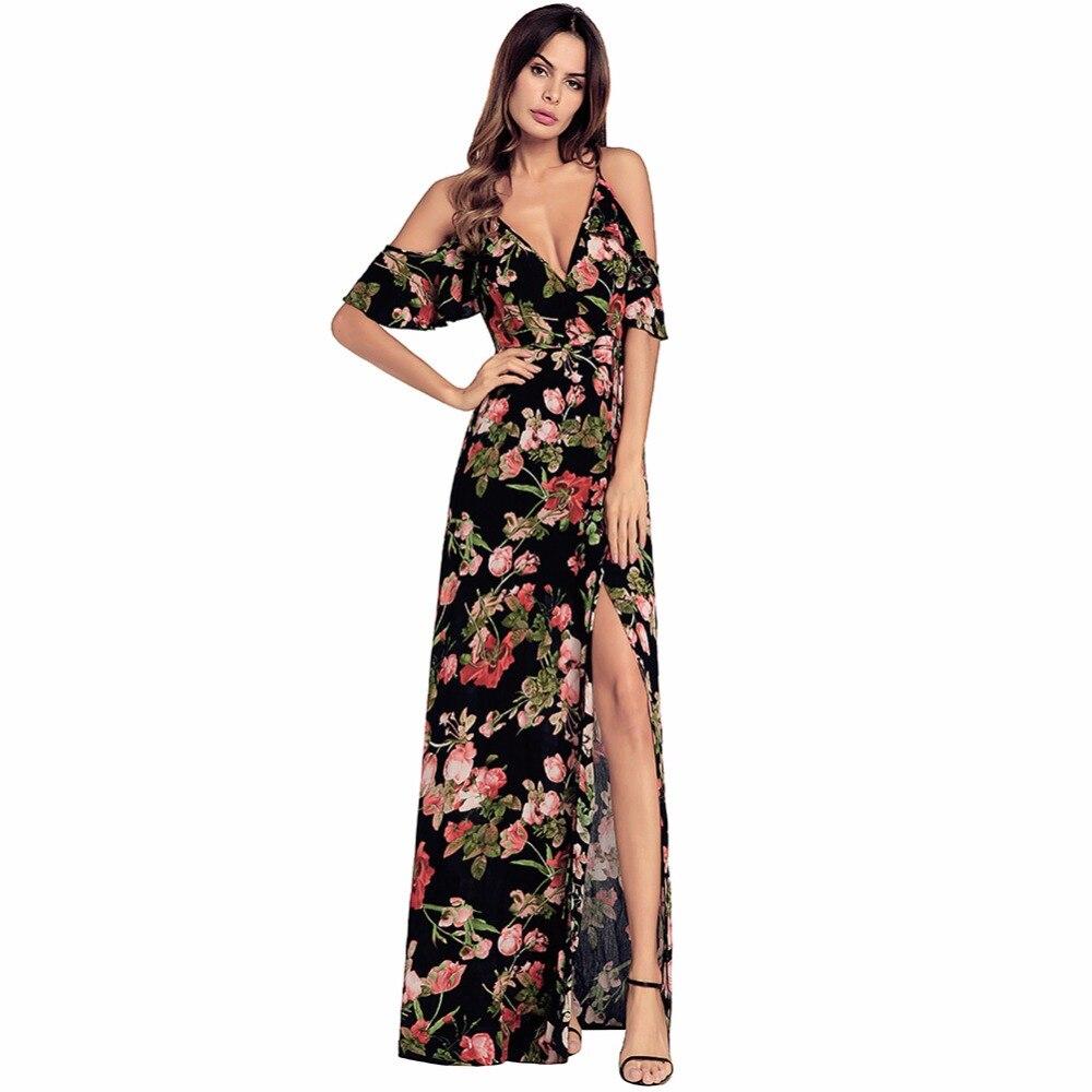 Sexy Long Women Dress Floral Print Floor Length Dress Beach Ladies Summer V-neck Casual Fashion Women Maxi Dresses LDW1070