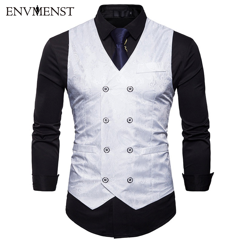 Tops Vests Coat Solid-Vests-Jacket Business-Suit Formal-Suit Sleevelss Male Slim Printed