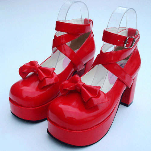 Popular lolita shoes bow princess shoes high heeled dress shoes red japanned leather party shoes,plus size:Eur35-40 41 42 43 44 sky blue red leather princess girl sweet lolita wedge mary jane shoes