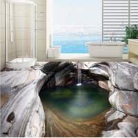 Custom 3d Flooring Mural Wallpaper Creek Waterfall Rock 3d Flooring Tile Painting Mural PVC Self Adhesive