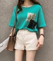 4xl plus big size blusas feminina spring autumn summer style 2018 korean women top Sequin Pocket T Shirts female A4599