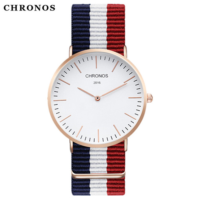 2017 Men Women Watches Top Brand Luxury CHRONOS Quartz Watch Nylon Rose Gold Clo