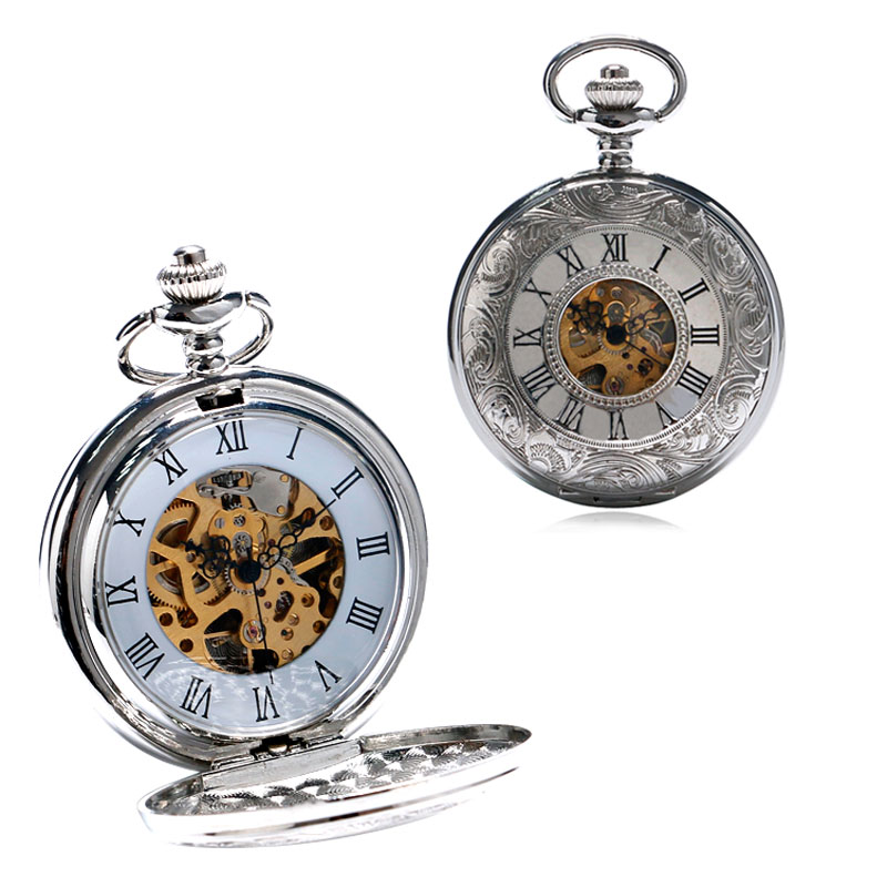 Classic Retro Hollow Roman Number Design Fob Pocket Watch Mechanical Hand Wind Men Women Clock With Rough Chain Best Gift