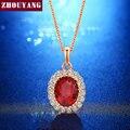 Elegante Rose Gold Pated Criado Rubi Vermelho Colar de Pingente de Cristal CZ Para As Mulheres da Festa de Casamento de Alta Qualidade Por Atacado ZYN308