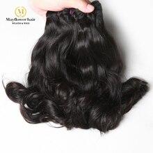 """Mayflower двойные вытянутые Необработанные индийские виргинские волосы норки Волнистые 100 г/шт. натуральный цвет 1/2/3/4 Связки 8-1"""" Длина смеси"""