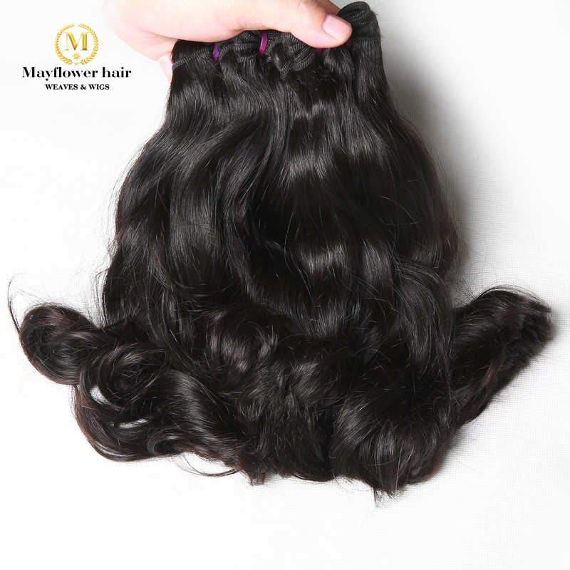 "Mayflower Double drawn Raw Indian virgin hair Mink Wavy 100g/pcs Natural color 1/2/3/4 bundles 8-18"" mix length Free shipping"