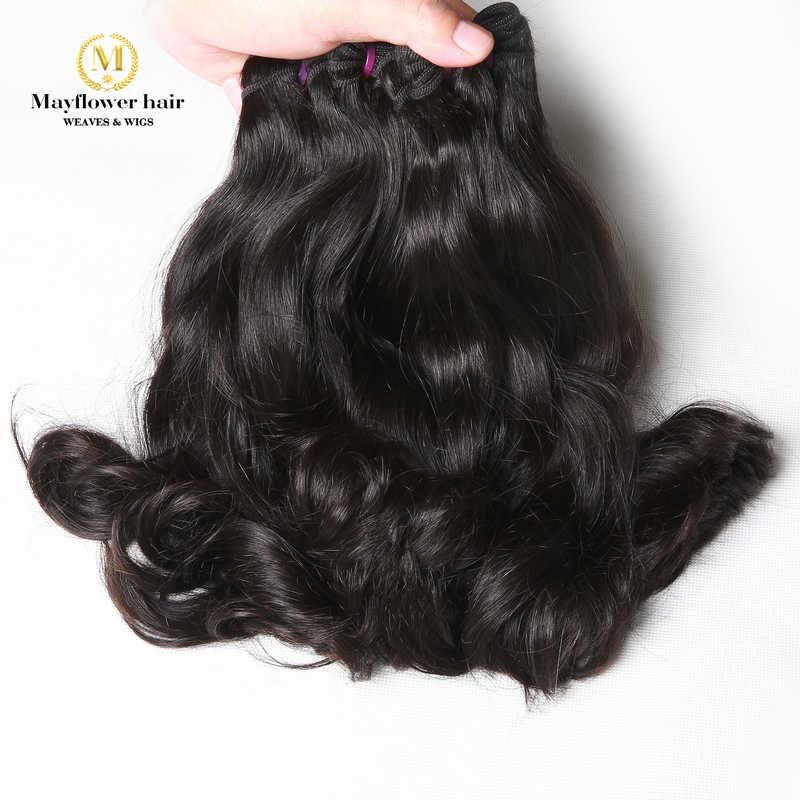 """Mayflower Dupla drawn Raw Indiano virgem do cabelo Ondulado 100 g/pçs Mink cor Natural 1/2/3/4 pacotes 8-18 """"mix comprimento Frete grátis"""