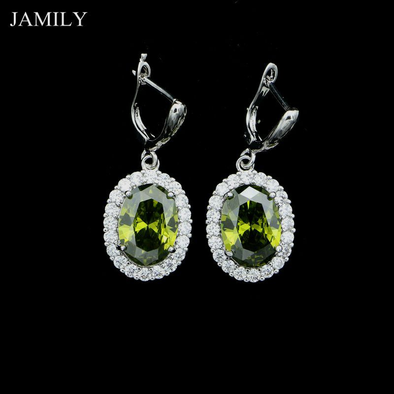 JAMILY 925 Sterling Silver Earrings Of Olive Green Stone And White Crystal For Bridal Decoration