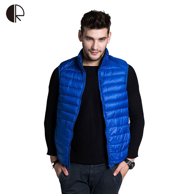 Plus Size 2016 Brand Thin Duck Down Vest Male MC1588 MenUltralight Sleeveless Jacket  Waistcoat 90% White Duck Down Double-sided