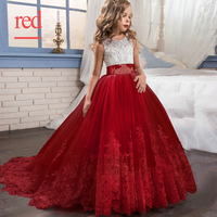 Kids Long Dress for Girls Wedding Party Flower Big Girls Lace Dresses 6 to 14 Years Children Clothes Kids Princess Costume B2A3A