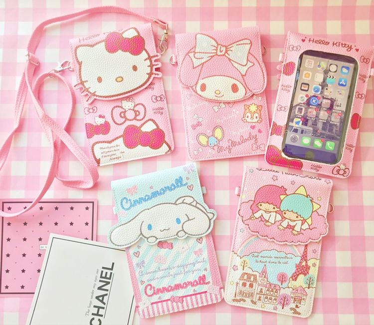 new style cartoon Hello Kitty My Melody Big Ears Cinnamoroll dog touch screen phone bag Zero wallet for girl gift 18CM*12CM lovely my melody kitty little twin stars cinnamoroll pudding dog pvc sticker decoration planner diary phone album index stickers