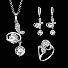 Elegant Butterfly Necklaces Pendants Fashion Brand Silver Plated AAA Clear Zircon Crystal Necklace Earrings For Women Girls Gift