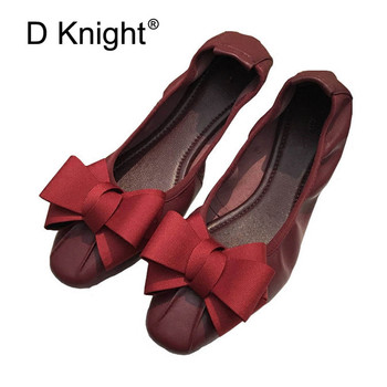 Genuine Leather Women Bow Tie Designer Flats Shoes Plus Size 34-42 Shallow Mouth Ballet Flats Shoes For Woman Slip On Loafers
