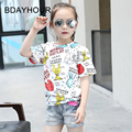 Cartoon Graffiti 100% Cotton Round Neck Short Sleeve Girl White Casual T-Shirts2017 Summer Children'S Clothing New Girl T-Shirts