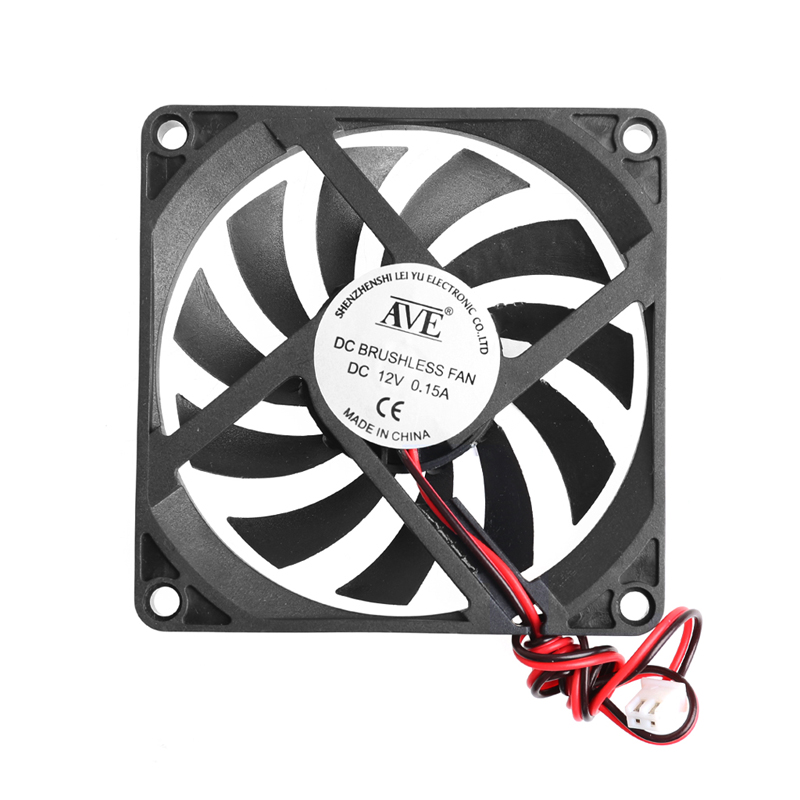 12V 2-Pin 80x80x10mm PC Computer CPU System Heatsink Brushless Cooling Fan 8010 Hot Plastic 1 piece gdstime 3pin dc fan 80mm 80x80x10mm 8cm 12v pc computer cpu cooler cooling fan 3 wire fg 8010 mute cooler high quality