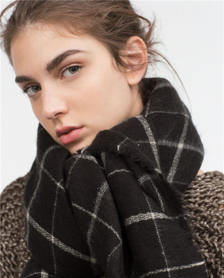2016 Winter Women s Fashion Warm Oversize Checked font b Tartan b font Blanket Scarf Wrap