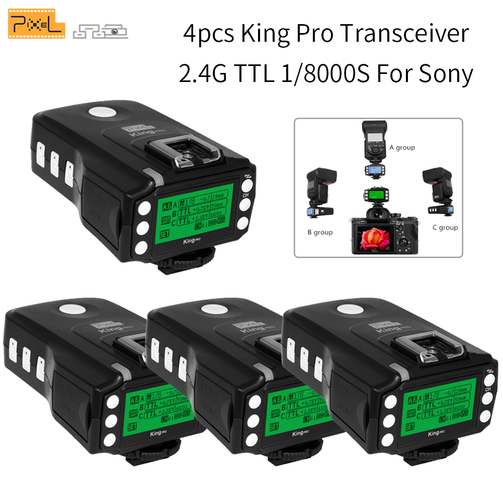 4pcs Pixel King Pro TTL 1 8000S LCD Wireless Transmitters Flash Trigger For Sony A7 A7R