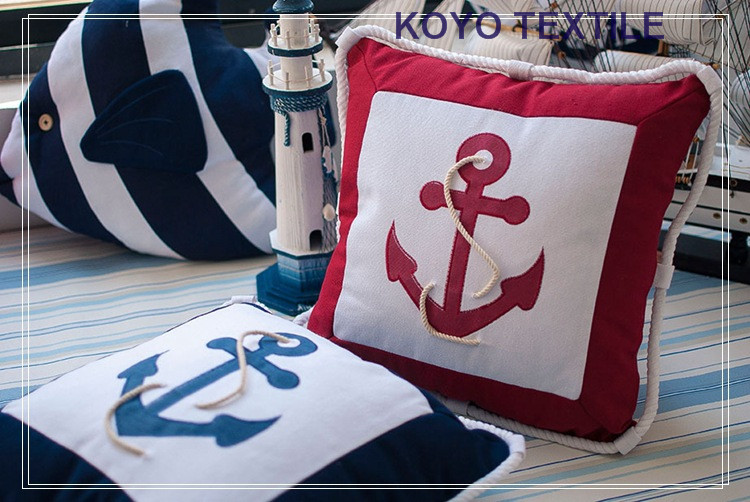 Patchwork Canvas Mediterranean Style Creative Anchor Rope Navigation Classy Nautica Pillow Covers