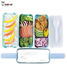 YiHAO 1400ML Portable 3 Layer Healthy Food Container Microwave Oven Lunch Bento Boxes Lunchbox