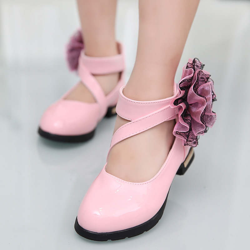 Black red pink girls princess shoes 2018 new style sweet flower black red pink girls princess shoes 2018 new style sweet flower girl leather shoes girls shoes kids leather shoes for girls in leather shoes from mightylinksfo